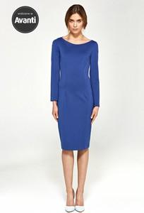 Niebieska sukienka Merg midi z długim rękawem