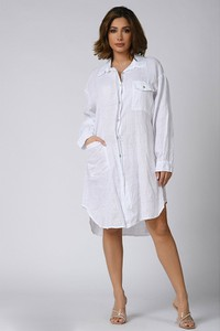 Sukienka Plus Size Company z długim rękawem koszulowa