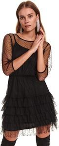Sukienka Top Secret z tiulu z długim rękawem koszulowa