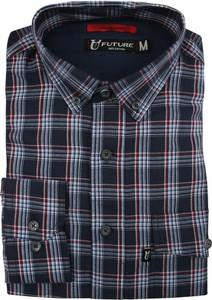 Granatowa koszula Jurel z długim rękawem z kołnierzykiem button down