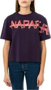 Fioletowa bluzka Napapijri z krótkim rękawem z okrągłym dekoltem