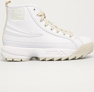 Buty sportowe Fila na platformie ze skóry ekologicznej sznurowane