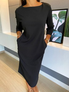 Czarna sukienka ModnaKiecka.pl w stylu casual z okrągłym dekoltem z długim rękawem