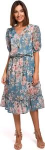 Sukienka Merg z krótkim rękawem rozkloszowana z szyfonu