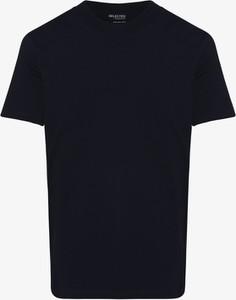 Niebieski t-shirt Selected z krótkim rękawem w stylu casual