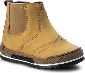 Brązowe buty dziecięce zimowe bartek z tworzywa sztucznego