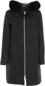Czarna kurtka Herno z wełny długa w stylu casual
