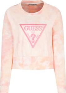 Różowa bluza Guess w stylu casual krótka