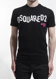 Czarny t-shirt Dsquared2 z bawełny w młodzieżowym stylu z krótkim rękawem