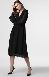 Czarna sukienka NA-KD midi z długim rękawem rozkloszowana