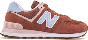 Pomarańczowe buty sportowe New Balance z płaską podeszwą w sportowym stylu z zamszu