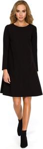 Sukienka Style z długim rękawem z tkaniny z okrągłym dekoltem