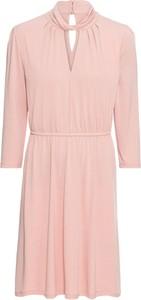 Różowa sukienka bonprix BODYFLIRT z dżerseju z długim rękawem w stylu casual