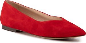 Czerwone baleriny Caprice w stylu casual