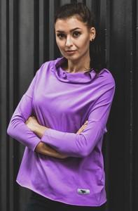 Fioletowa bluzka Byinsomnia z bawełny w stylu casual z dekoltem w łódkę