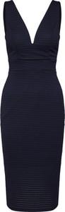 Granatowa sukienka WAL G. ołówkowa