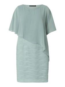 Miętowa sukienka Swing Curve z szyfonu mini z okrągłym dekoltem