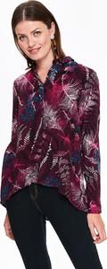 Fioletowa koszula Top Secret w młodzieżowym stylu z długim rękawem z dekoltem w kształcie litery v