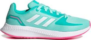 Turkusowe buty sportowe Adidas z płaską podeszwą