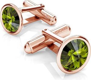 GIORRE SREBRNE SPINKI DO MANKIETU SWAROVSKI RIVOLI 925 : Kolor kryształu SWAROVSKI - Olivine, Kolor pokrycia srebra - Pokrycie Różowym 18K Złotem