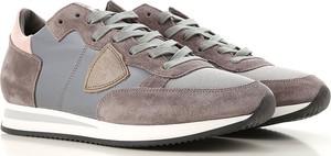Brązowe buty sportowe Philippe Model ze skóry w młodzieżowym stylu sznurowane