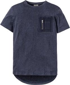 Niebieski t-shirt bonprix rainbow z krótkim rękawem w stylu casual