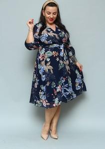 Granatowa sukienka KARKO z szyfonu