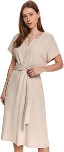 Sukienka Top Secret z dekoltem w kształcie litery v midi z krótkim rękawem