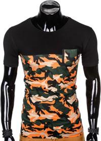 Pomarańczowy t-shirt Ombre Clothing w militarnym stylu z krótkim rękawem z bawełny