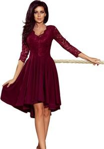 Czerwona sukienka NUMOCO z długim rękawem z dekoltem w kształcie litery v rozkloszowana