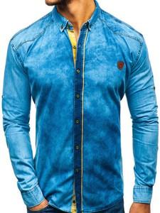 Niebieska koszula Denley w street stylu z długim rękawem z bawełny