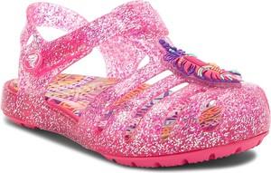 Różowe buty dziecięce letnie Crocs na rzepy