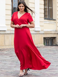 Sukienka KARKO kopertowa z tkaniny z dekoltem w kształcie litery v
