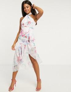 Różowa sukienka Lipsy z żakardu z dekoltem halter maxi