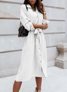 Sukienka Cikelly w stylu casual z kołnierzykiem z długim rękawem