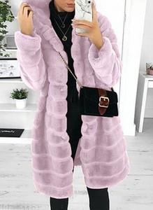 Kieszonkowy pluszowy płaszcz z długim rękawem i kapturem kurtka różowy Cikelly (S)