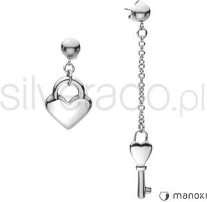 Silverado niezwykle oryginalne kolczyki z sercem i kluczem ze stali szlachetnej 77-ka068