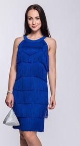 Niebieska sukienka Semper z okrągłym dekoltem