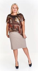 Sukienka Fokus midi dla puszystych z okrągłym dekoltem