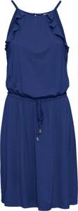Niebieska sukienka bonprix BODYFLIRT midi z okrągłym dekoltem