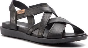 Czarne sandały PIKOLINOS ze skóry w stylu casual na koturnie