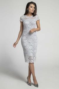 Sukienka Nommo ołówkowa z okrągłym dekoltem z krótkim rękawem