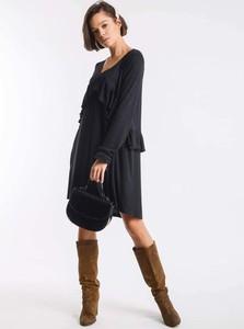Czarna sukienka Nommo w stylu casual z długim rękawem mini