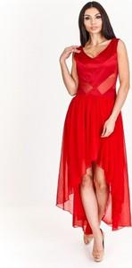 Sukienka London Girl gorsetowa z dekoltem w kształcie litery v z szyfonu