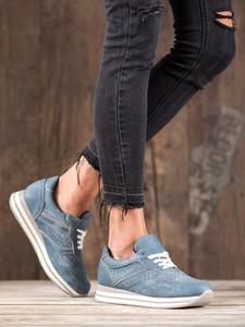 Niebieskie buty sportowe Merg sznurowane