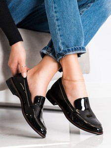 Czarne półbuty Czasnabuty w stylu casual z płaską podeszwą