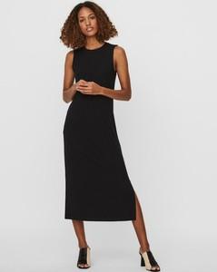 Czarna sukienka WARESHOP bez rękawów midi z okrągłym dekoltem