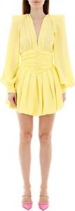 Żółta sukienka The Attico mini z długim rękawem