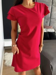 Czerwona sukienka ModnaKiecka.pl z okrągłym dekoltem z bawełny prosta