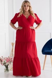 Czerwona sukienka KARKO maxi z długim rękawem